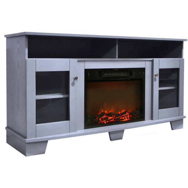 Cambridge Savona 59 In. Electric Fireplace in Slate Blue with Entertainment Stand and Charred Log Display 6