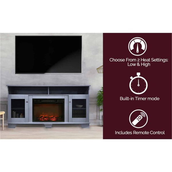 Cambridge Savona 59 In. Electric Fireplace in Slate Blue with Entertainment Stand and Charred Log Display 7