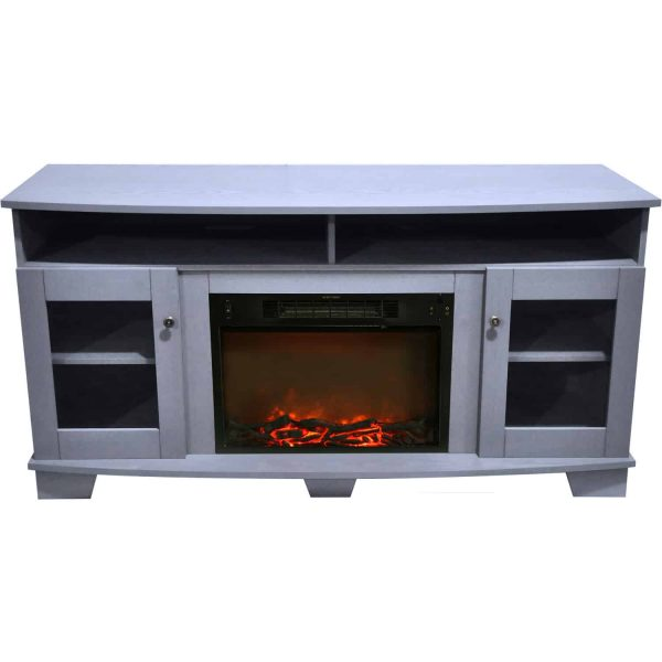 Cambridge Savona 59 In. Electric Fireplace in Slate Blue with Entertainment Stand and Charred Log Display 8