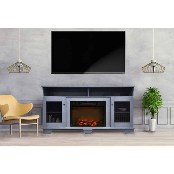 Cambridge Savona 59 In. Electric Fireplace in Slate Blue with Entertainment Stand and Charred Log Display 9