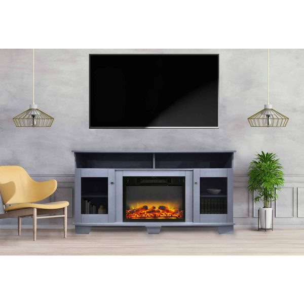 Cambridge Savona 59 In. Electric Fireplace in Slate Blue with Entertainment Stand and Enhanced Log Display 1