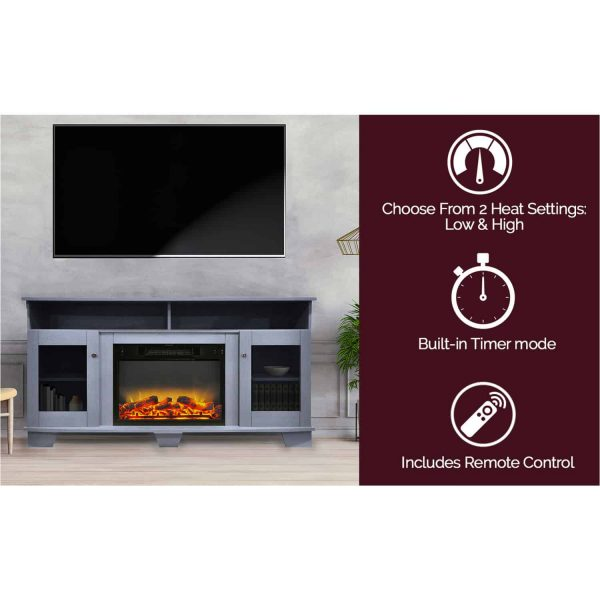 Cambridge Savona 59 In. Electric Fireplace in Slate Blue with Entertainment Stand and Enhanced Log Display 3
