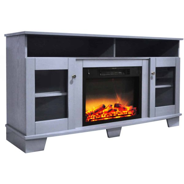 Cambridge Savona 59 In. Electric Fireplace in Slate Blue with Entertainment Stand and Enhanced Log Display 6