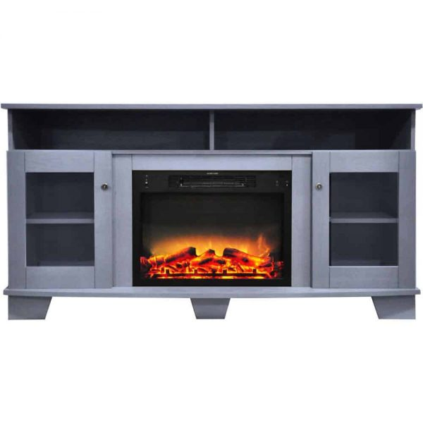 Cambridge Savona 59 In. Electric Fireplace in Slate Blue with Entertainment Stand and Enhanced Log Display