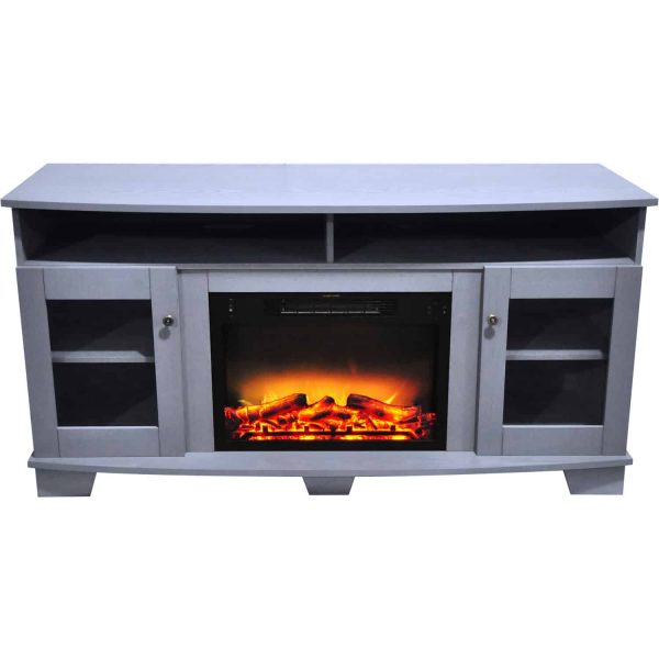 Cambridge Savona 59 In. Electric Fireplace in Slate Blue with Entertainment Stand and Enhanced Log Display 8