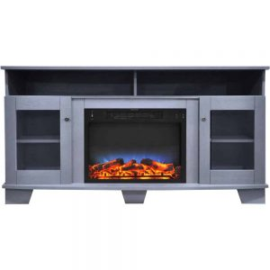 Cambridge Savona 59 In. Electric Fireplace in Slate Blue with Entertainment Stand and Multi-Color LED Flame Display