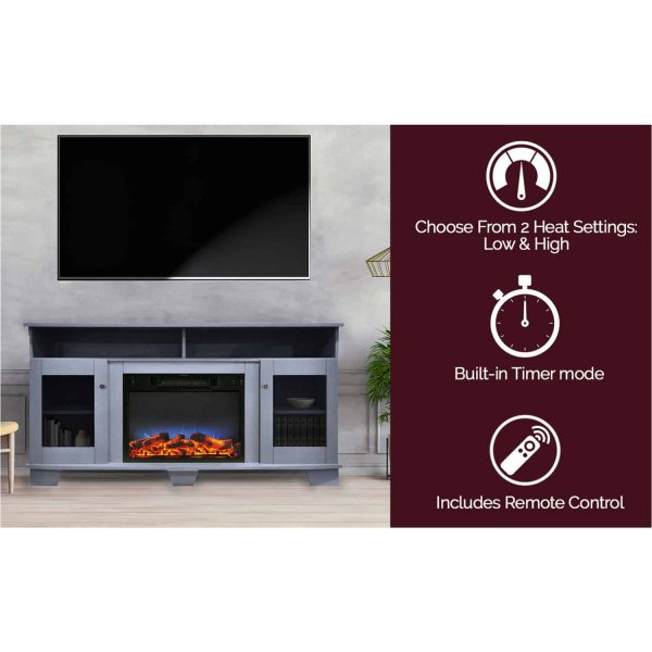 Cambridge Savona 59 In. Electric Fireplace in Slate Blue with Entertainment Stand and Multi-Color LED Flame Display 4