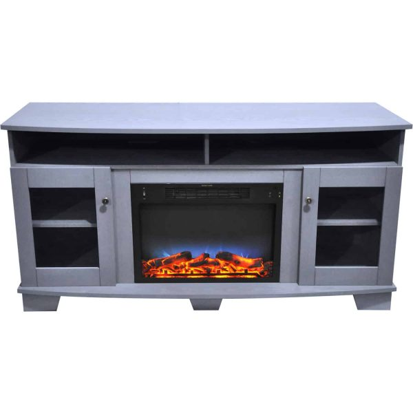 Cambridge Savona 59 In. Electric Fireplace in Slate Blue with Entertainment Stand and Multi-Color LED Flame Display 7