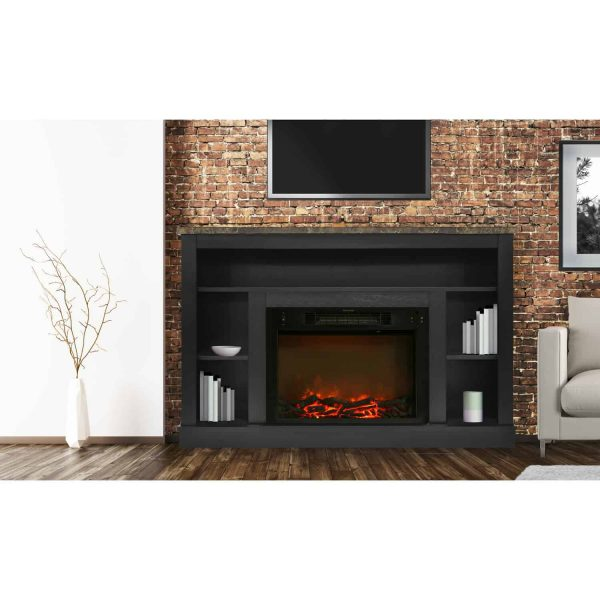 "Cambridge Seville 47"" Electric Fireplace Mantel Heater with Charred Log Display 2"
