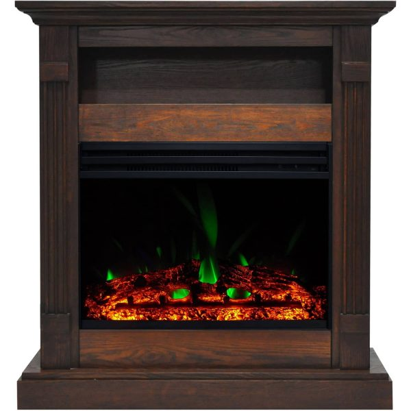 Cambridge Sienna 34-In. Electric Fireplace Heater with Walnut Mantel, Enhanced Log Display, Multi-Color Flames, and Remote Control 1