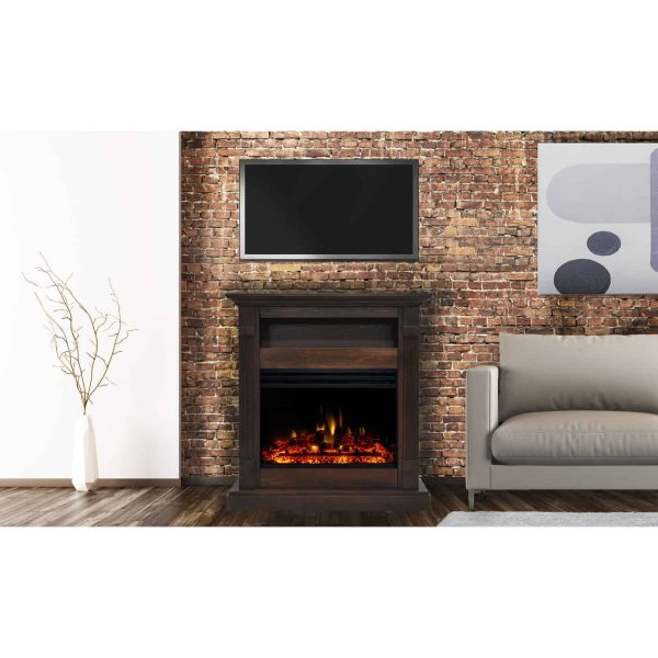 Cambridge Sienna 34-In. Electric Fireplace Heater with Walnut Mantel