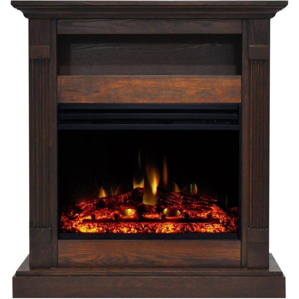 Cambridge Sienna 34-In. Electric Fireplace Heater with Walnut Mantel, Enhanced Log Display, Multi-Color Flames, and Remote Control 5