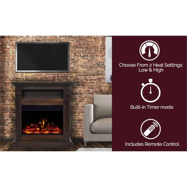 Cambridge Sienna 34-In. Electric Fireplace Heater with Walnut Mantel, Enhanced Log Display, Multi-Color Flames, and Remote Control 6