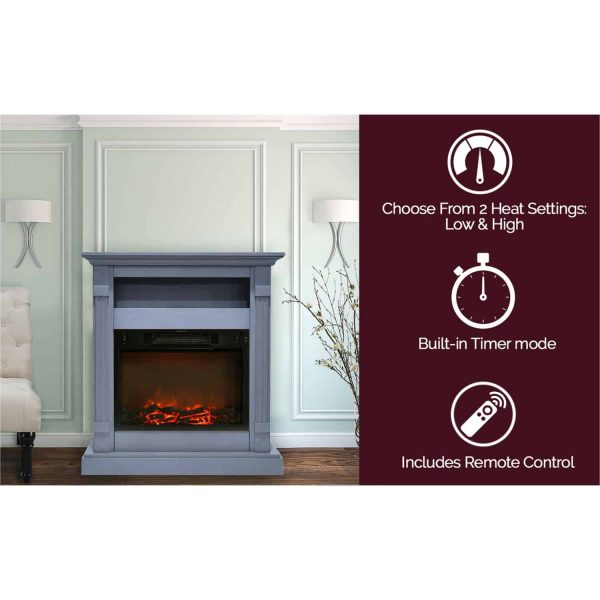 Cambridge Sienna 34 In. Electric Fireplace w/ 1500W Log Insert and Slate Blue Mantel 1