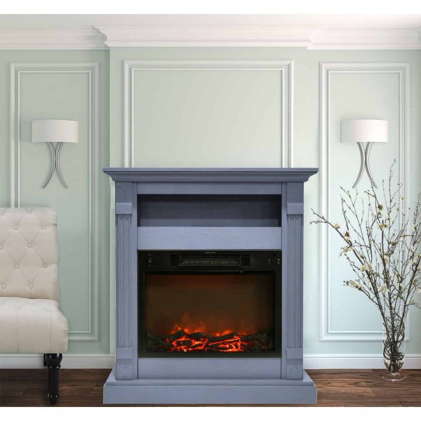 Cambridge Sienna 34 In. Electric Fireplace w/ 1500W Log Insert and Slate Blue Mantel 3