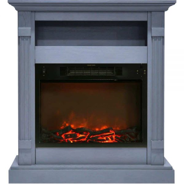 Cambridge Sienna 34 In. Electric Fireplace w/ 1500W Log Insert and Slate Blue Mantel