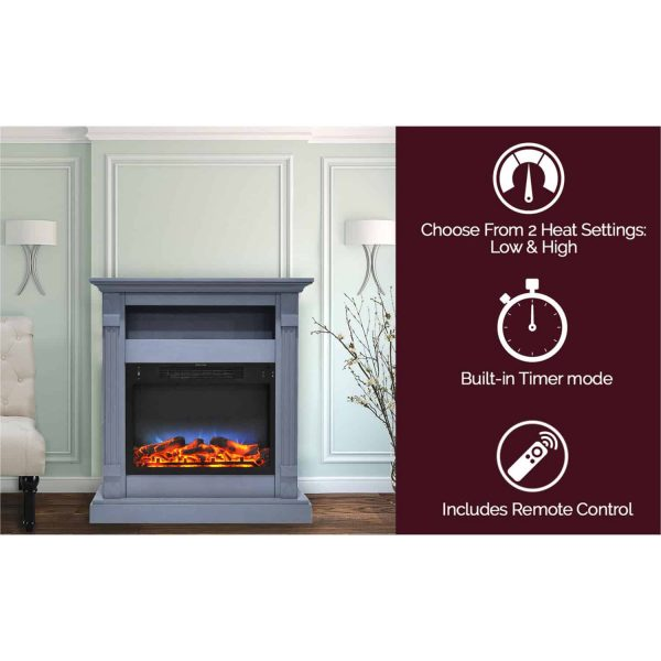 Cambridge Sienna 34 In. Electric Fireplace w/ Multi-Color LED Insert and Slate Blue Mantel 2