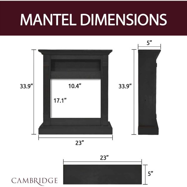 """Cambridge Sienna 34"""" Electric Fireplace Mantel Heater with Charred Log Display 4"""