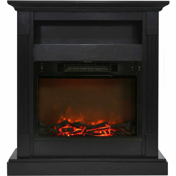 "Cambridge Sienna 34"" Electric Fireplace Mantel Heater with Charred Log Display"