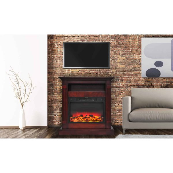 "Cambridge Sienna 34"" Electric Fireplace Mantel Heater with Enhanced Log and Grate Display 5"