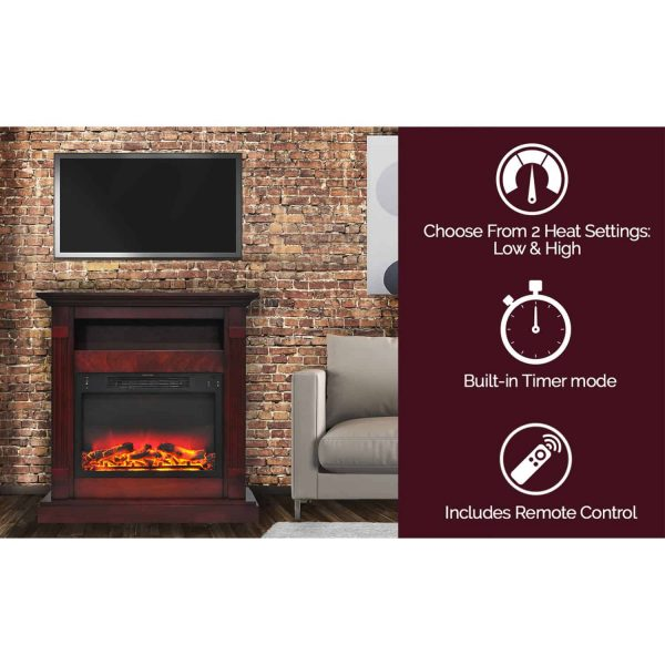 "Cambridge Sienna 34"" Electric Fireplace Mantel Heater with Enhanced Log and Grate Display 6"