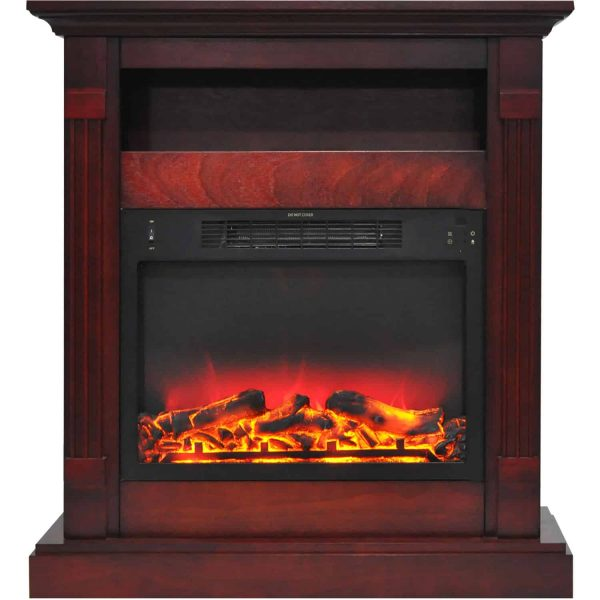 "Cambridge Sienna 34"" Electric Fireplace Mantel Heater with Enhanced Log and Grate Display"