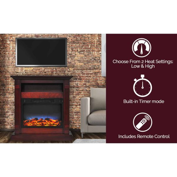 "Cambridge Sienna 34"" Electric Fireplace Mantel Heater with Multi-Color LED Flame Display 3"