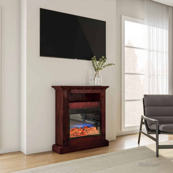 "Cambridge Sienna 34"" Electric Fireplace Mantel Heater with Multi-Color LED Flame Display 9"