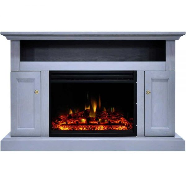 Cambridge Sorrento Electric Fireplace Heater with 47-In. Blue TV Stand