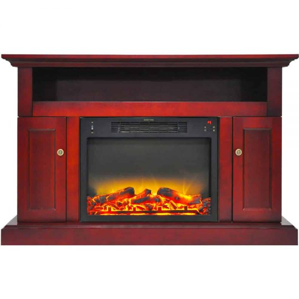 "Cambridge Sorrento Electric Fireplace Heater with 47"" Entertainment Stand plus Enhanced Log and Grate Display 1"