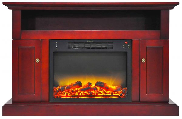 "Cambridge Sorrento Electric Fireplace Heater with 47"" Entertainment Stand plus Enhanced Log and Grate Display"