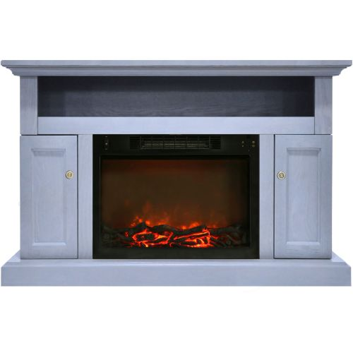 Cambridge Sorrento Electric Fireplace with 1500W Log Insert and 47 In. Entertainment Stand in Slate Blue 1