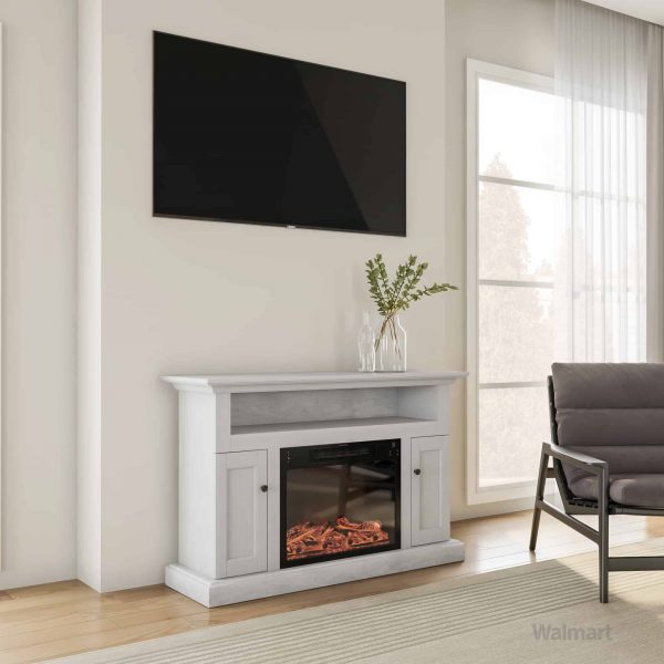 Cambridge Sorrento Electric Fireplace with 1500W Log Insert and 47 In. Entertainment Stand in White 10