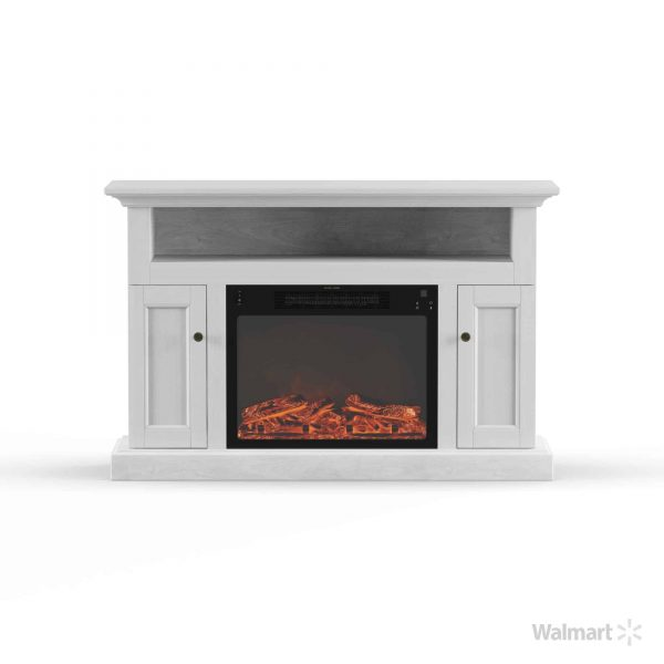 Cambridge Sorrento Electric Fireplace with 1500W Log Insert and 47 In. Entertainment Stand in White 12
