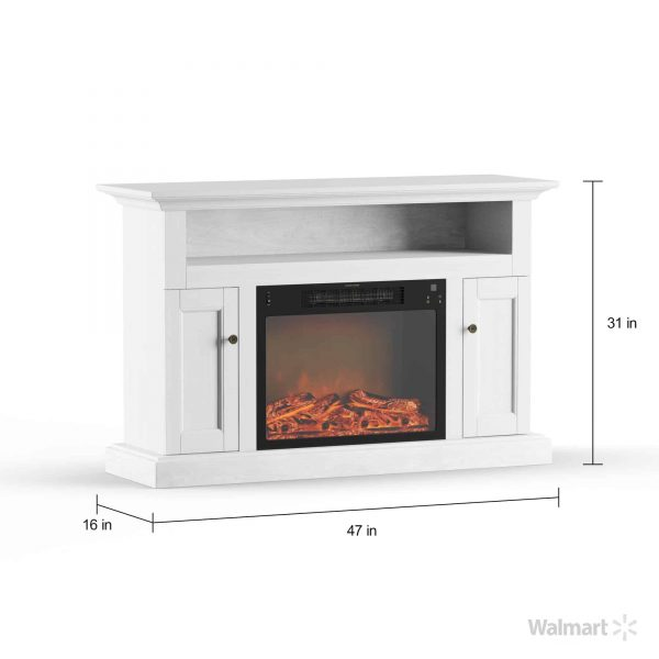 Cambridge Sorrento Electric Fireplace with 1500W Log Insert and 47 In. Entertainment Stand in White 13