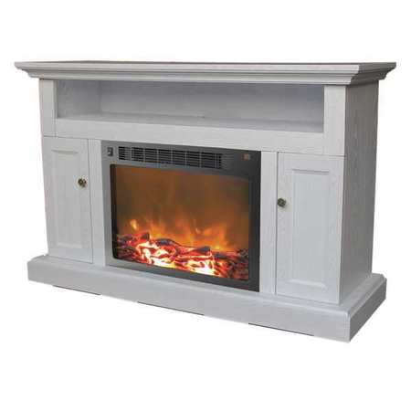 Cambridge Sorrento Electric Fireplace with 1500W Log Insert and 47 In. Entertainment Stand in White 2