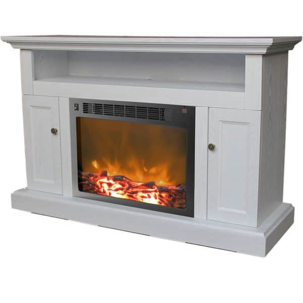 Cambridge Sorrento Electric Fireplace with 1500W Log Insert and 47 In. Entertainment Stand in White 3