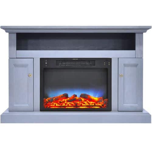 Cambridge Sorrento Electric Fireplace with Multi-Color LED Insert and 47 In. Entertainment Stand in Slate Blue 1
