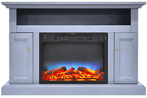 Cambridge Sorrento Electric Fireplace with Multi-Color LED Insert and 47 In. Entertainment Stand in Slate Blue
