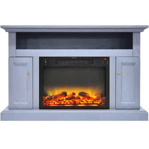Cambridge Sorrento Electric Fireplace with an Enhanced Log Display and 47 In. Entertainment Stand in Slate Blue 1