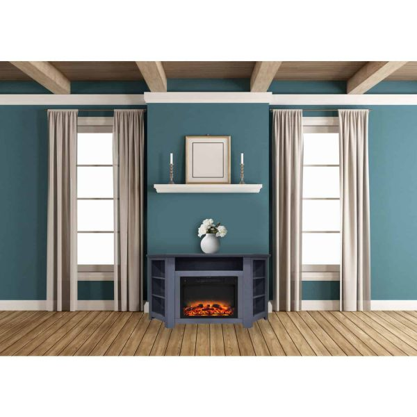 Cambridge Stratford 56 In. Electric Corner Fireplace in Slate Blue with Enhanced Fireplace Display 1