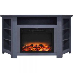Cambridge Stratford 56 In. Electric Corner Fireplace in Slate Blue with Enhanced Fireplace Display