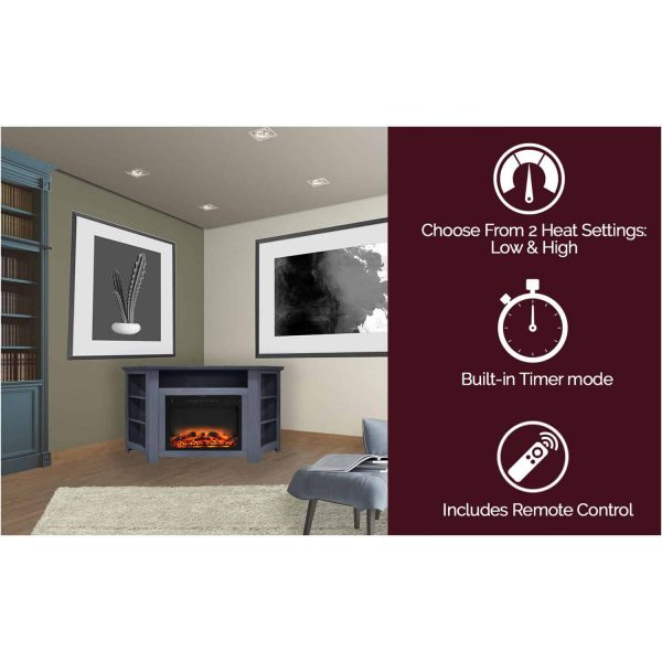 Cambridge Stratford 56 In. Electric Corner Fireplace in Slate Blue with Enhanced Fireplace Display 4