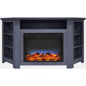 Cambridge Stratford 56 In. Electric Corner Fireplace in Slate Blue with LED Multi-Color Display