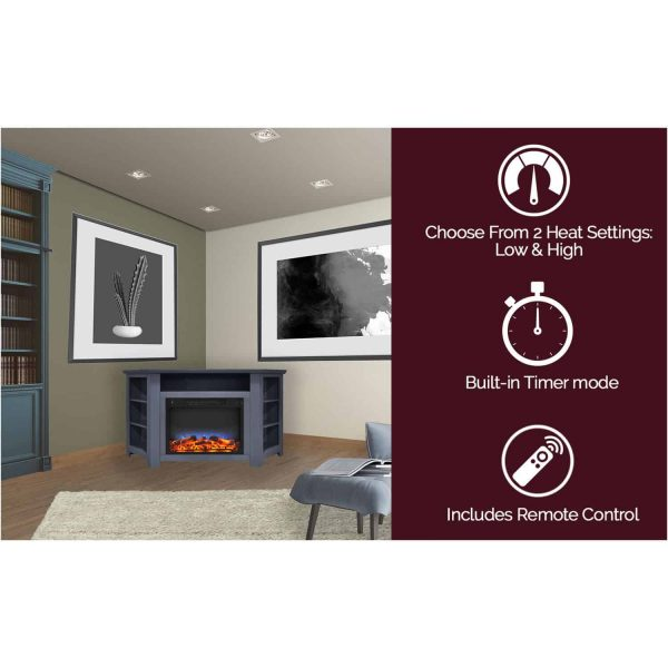 Cambridge Stratford 56 In. Electric Corner Fireplace in Slate Blue with LED Multi-Color Display 4