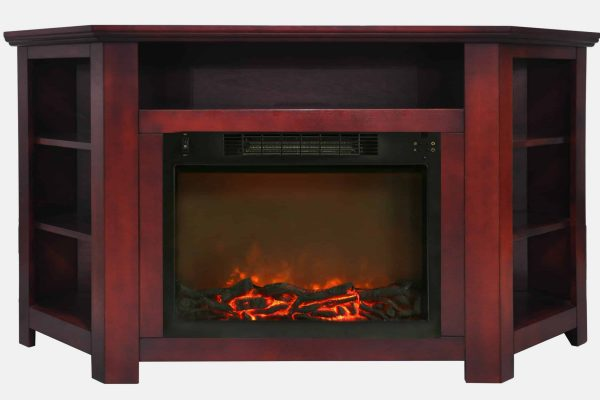 "Cambridge Stratford 56"" Electric Corner Fireplace Heater with Charred Log Display 7"