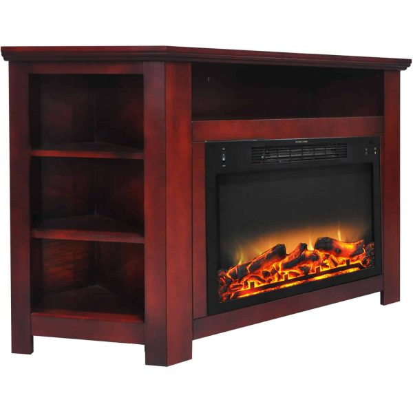 """Cambridge Stratford 56"""" Electric Corner Fireplace Heater with Enhanced Log and Grate Display 1"""