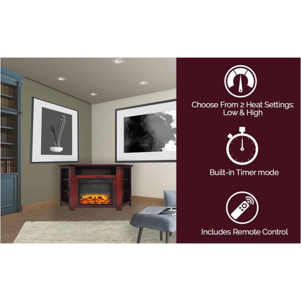 """Cambridge Stratford 56"""" Electric Corner Fireplace Heater with Enhanced Log and Grate Display 6"""
