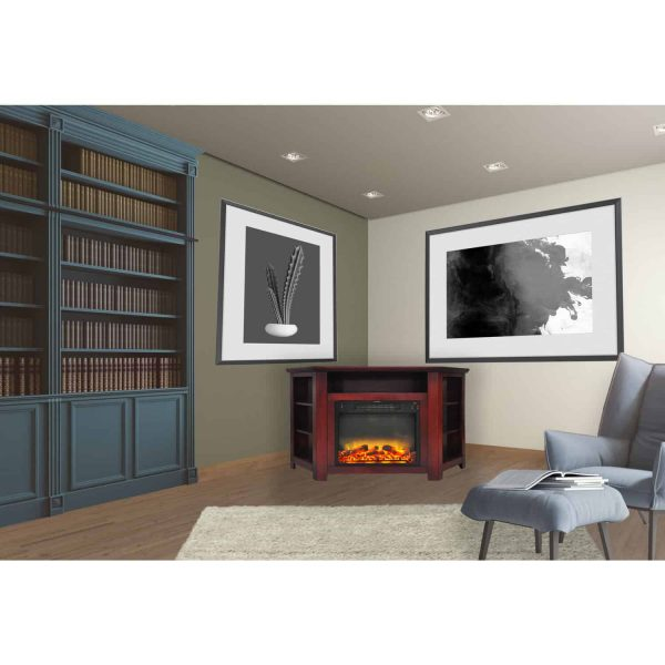 """Cambridge Stratford 56"""" Electric Corner Fireplace Heater with Enhanced Log and Grate Display 9"""