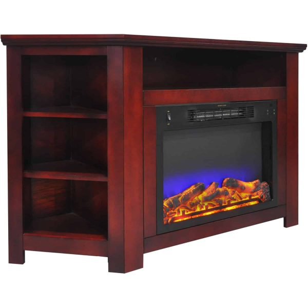 "Cambridge Stratford 56"" Electric Corner Fireplace Heater with LED Multi-Color LED Flame Display 1"